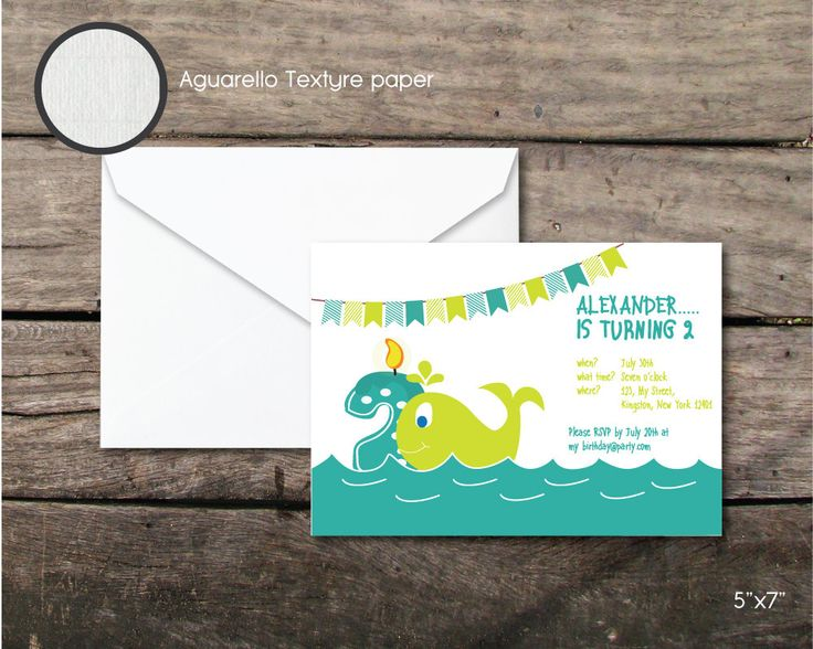Printable and printed birthday baby wale party invitation, sweet wale baby boy party, second birthday, paper and party supplies, design by BeePrintDesigns on Etsy