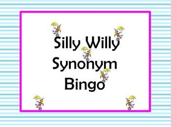 Silly Willy Synonym Bingo Games (2) with Critical ThinkingThere are 50 pairs of  synonyms.There are two bingo games, one for each 25 pairs....