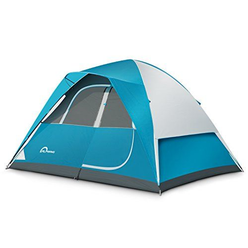 Camping Tent - 6 Person Dome Tent,Portable Foldable Waterproof Outdoor Festival Camping Dome Tent Kit (10' x9') ALPRANG (blue&white). For product & price info go to:  https://all4hiking.com/products/camping-tent-6-person-dome-tentportable-foldable-waterproof-outdoor-festival-camping-dome-tent-kit-10-x9-alprang-bluewhite/