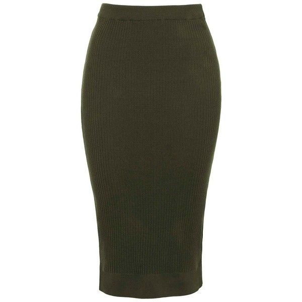 Topshop Ribbed Body-Con Midi Skirt ($55) ❤ liked on Polyvore featuring skirts, topshop skirt, bodycon midi skirt, olive skirt, knee length bodycon skirt and calf length skirts