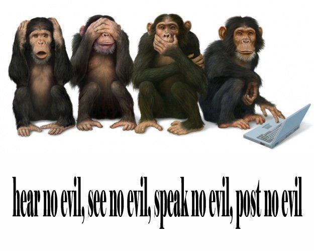 Hear no evil, see no evil, speak not evil, post no evil. Thanks Raw for Beauty