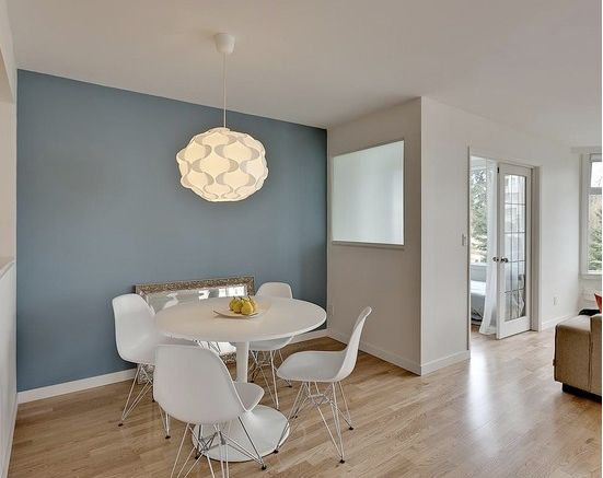 blue accent wall color sherwin williams poolhouse blue white walls are benjamin moore cloud small dining roomsdining room colorsmodern - Colorful Modern Dining Room