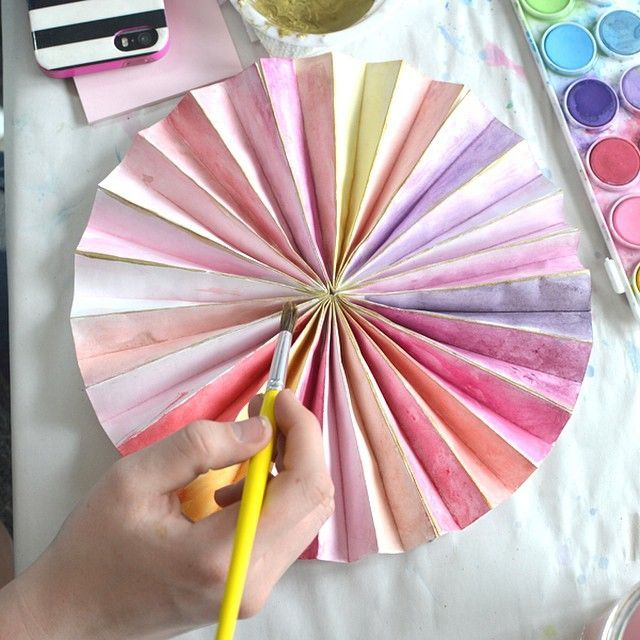 make paper pinwheels and paint with watercolor
