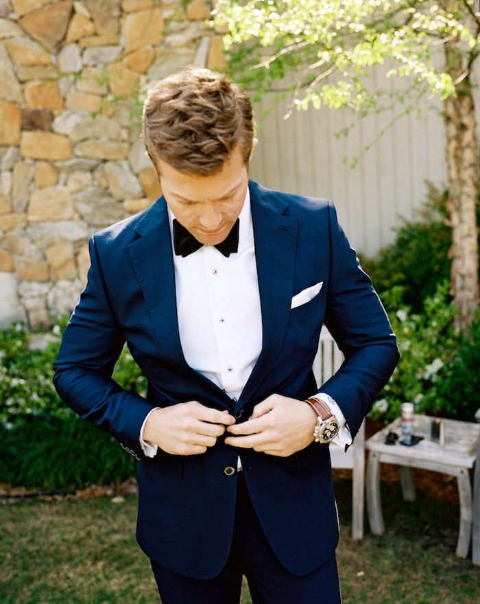 Say yes to blue suits. Stephen DeVries Photo, Design Styling by Ginny Au #groom #wedding | Raddest Men's Fashion Looks On The Internet: http://www.raddestlooks.org