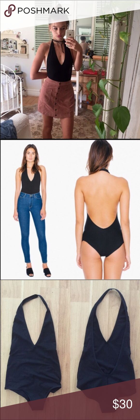 New American Apparel Black Surplice Bodysuit ⚜️I love receiving offers through the offer button!⚜️  Brand new! Material is 95% cotton and 5% elastane. New in plastic = NWT American Apparel Tops