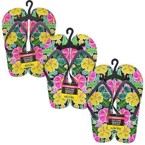 Ladies Black Printed Rubber Flip-Flops