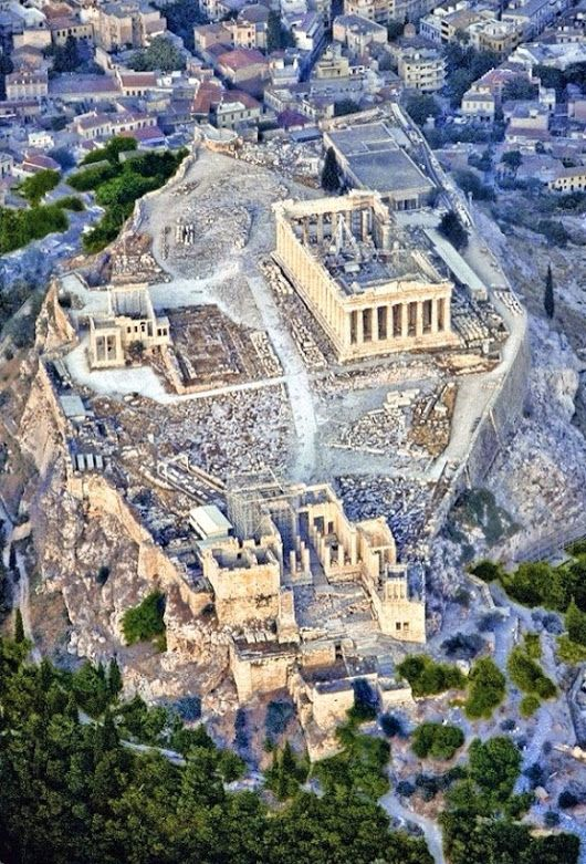A spectacular aerial view of the citadel, the Acropolis which includes the celebrated Parthenon.