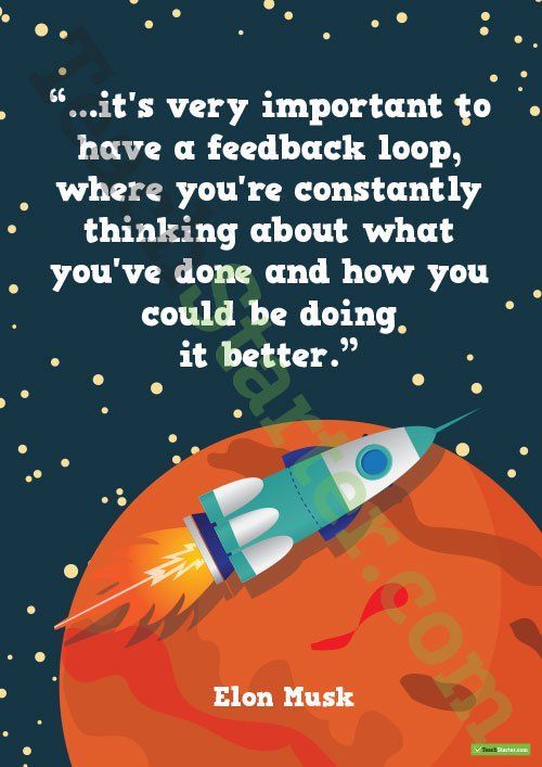 Teaching Resource: A motivating Elon Musk quote to display in the classroom.