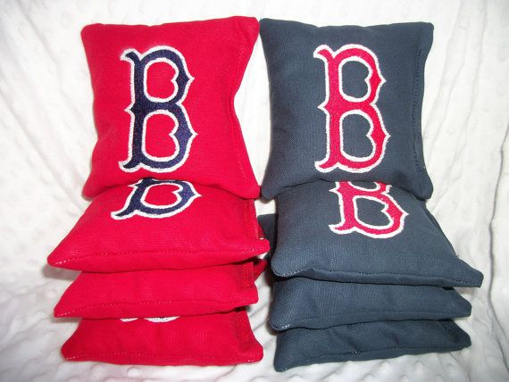 Cornhole bags Boston Red Sox 8 cornhole Bean by oddsandends2010, $34.50