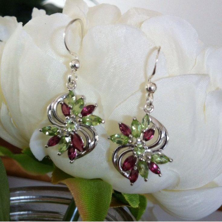 Sterling Silver Earrings, Dangle Earrings, Bridesmaide Gifts, Christmas Earrings, Peridot Drop Earrings by LenaMayJewelley on Etsy