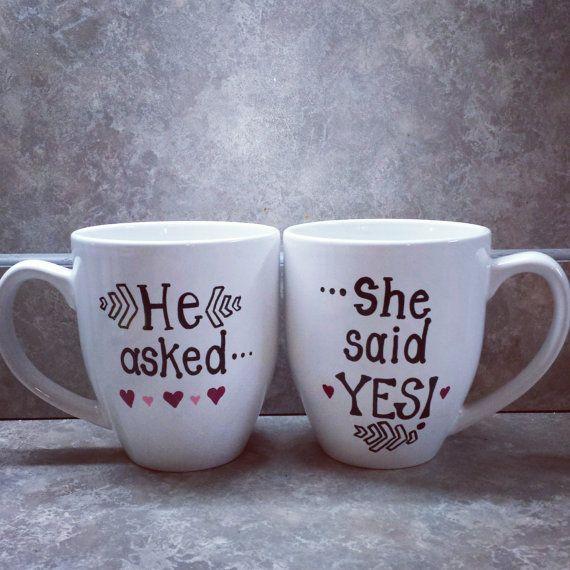 Couples engagement mug set by sarahmarie28 on Etsy, $30.00