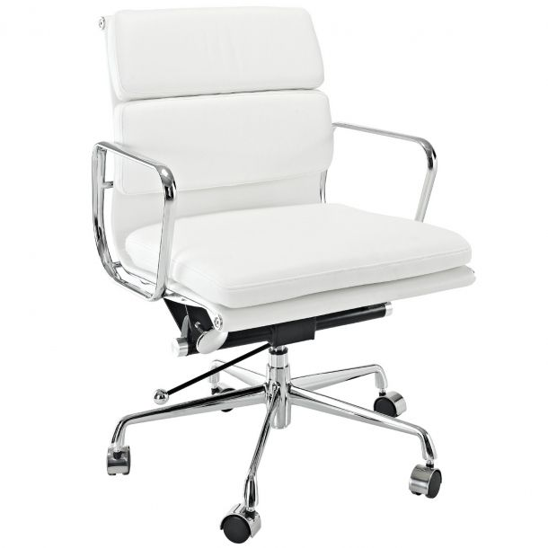 Emma Mid Back Leather Office Chair - White | Memoky.com