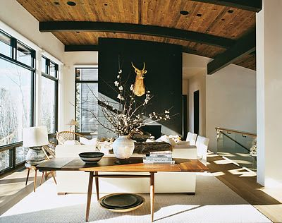 A modern take on a barrel vault is marvelous with contrasting supports and a focal fireplace wall.: Living Rooms, Deer Head, Wood Ceilings, Ac Lauder, Aerinlauder, House, Black Wall, Aspen, Accent Wall