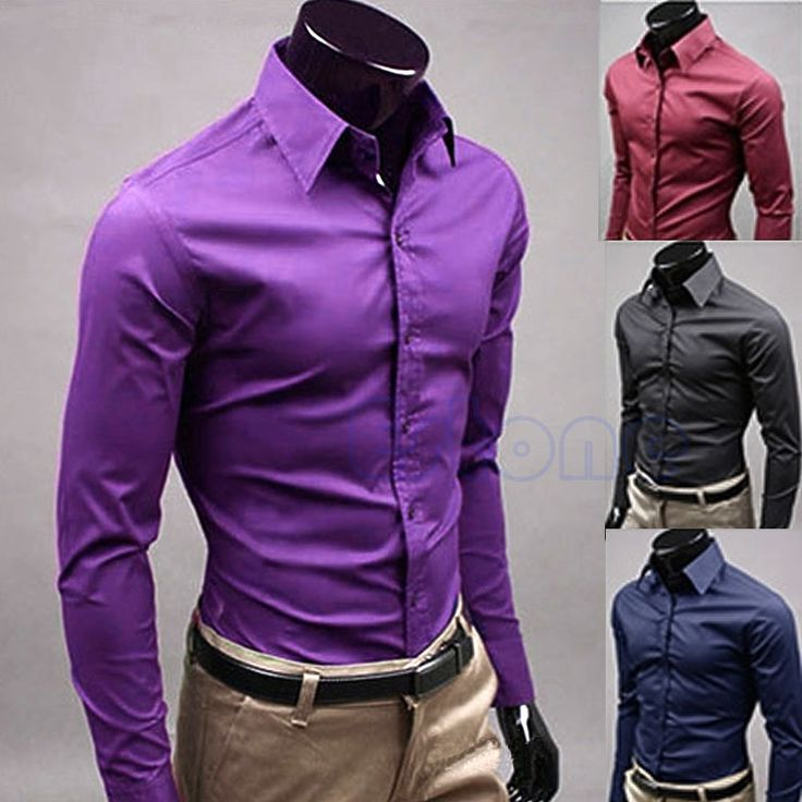 Hot Men Business Casual Dress Suits Slim Fit T Shirts Long Sleeve ...
