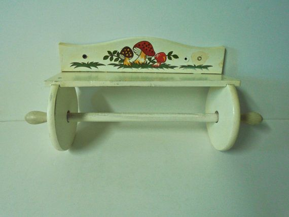 Very Rare MERRY MUSHROOM Wooden Paper Towel Rack / Holder Sears Roebuck 1978!  Incredible Vintage Midcentury