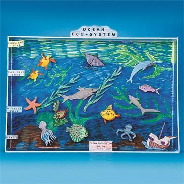 Would be adorable to make a diorama of the ocean life with the kid's help! They have the paper at crafts 2000