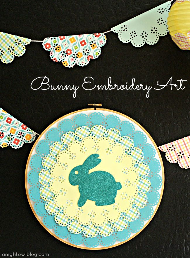 An easter vignette with martha stewart crafts embroidery