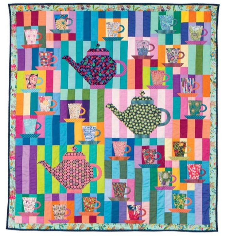 """All That and the Hatter"" quilt,  in the book 'Hand Quilted With Love' by Sarah Fielke 