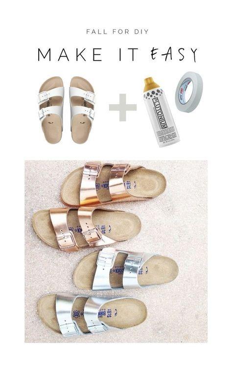 #Birkenstock #Sandalen #Verschönern #DIY #Metallic #Roségold Habt ihr eure Birkenstocks gekauft, bevor der Metallic-Trend über uns hereinbrach? Dann müsst ihr euch definitiv kein Paar neue zulegen, denn mit Metallicspray und etwas Tape könnt ihr euch den trendy Metallic-Look ganz einfach auf eure Schuhe zaubern. So upgraded ihr eure alten Sandalen ganz einfach.