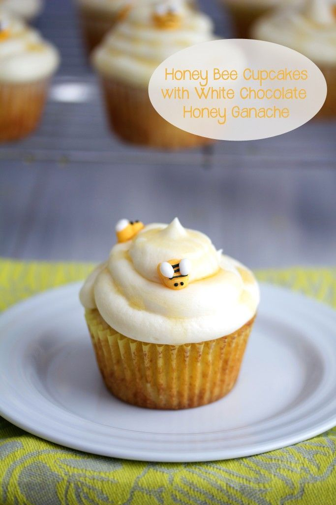 Honey Bee Cupcakes with White Chocolate Honey Ganache | We are not Martha