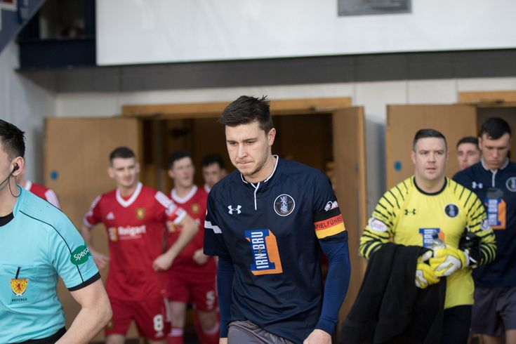 Queen's Park's Sean Burns leads his team out before the SPFL League One game between Queen's Park and Albion Rovers