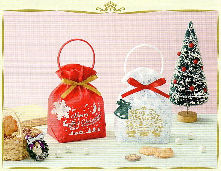 【楽天市場】[業務用]不織布バック 1枚クリスマス リボンバック2 白クリスマスのプレゼント(クリスマスプレゼント)やお菓子のラッピングに。おしゃれでかわいい不織布の袋(サンタ/サンタクロース/手提げ袋/ラッピングバック)激安の包装用品(ラッピング用品/クリスマス用品):包や本舗吉野商店