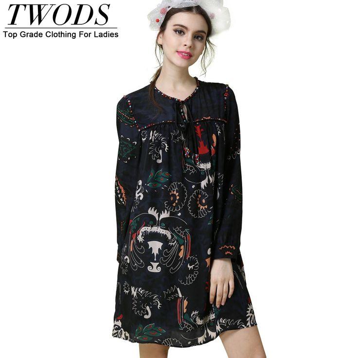 Long Sleeve Tunic Dress Ethnic Beading Neckline Floral Print Loose Vestidos De Fiesta Cortos