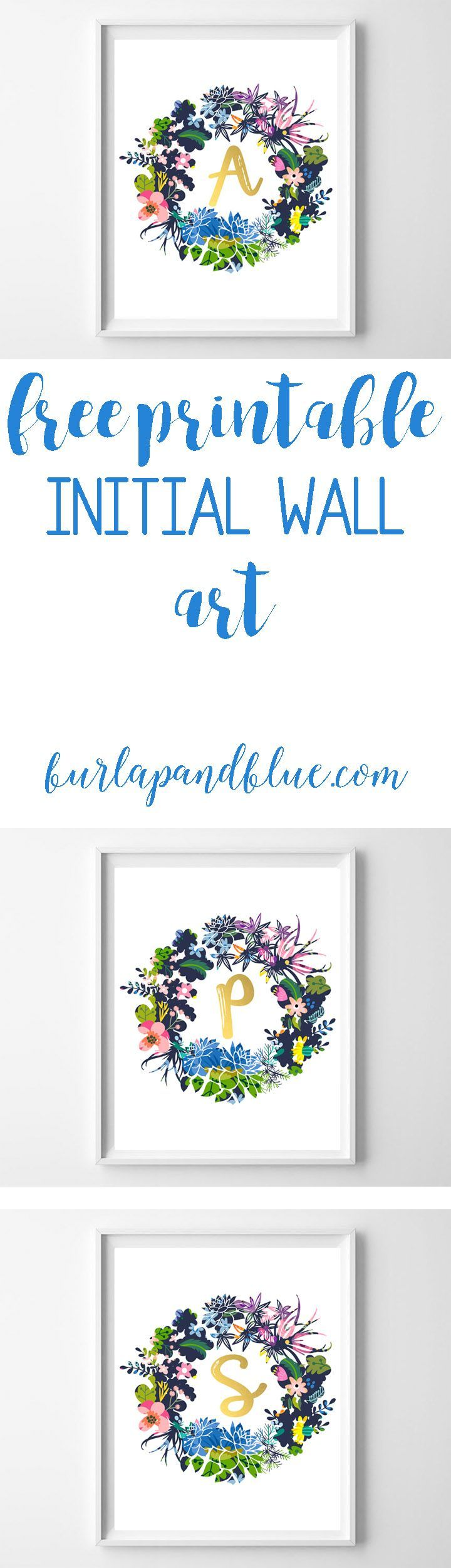 free printable initial wreath wall art! perfect for nursery art, wall art or gallery walls!