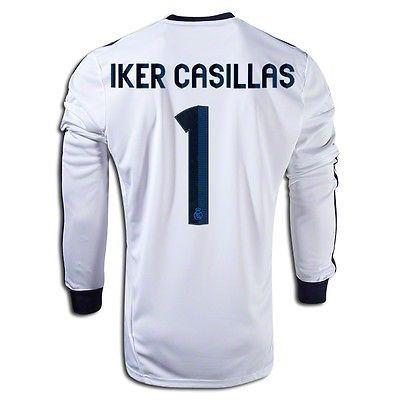 ba1ebb43a ... ADIDAS IKER CASILLAS REAL MADRID LONG SLEEVE HOME JERSEY 201213 Real  Madrid 2017-18 ...