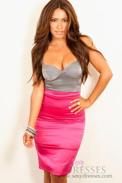 """Erica"" Hot Pink Pinstripe Bodice Knee Length Dress"
