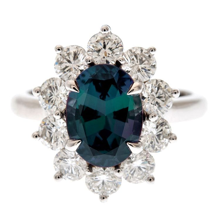 Incredible Color-Change Alexandrite & Diamond Platinum Ring