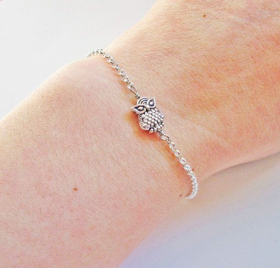 tiny Owl bracelet, Owl Jewelry in silver by RobertaValle