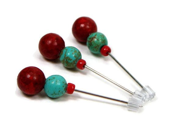 Counting Pins Marking Pins Turquoise Red Hardanger by TJBdesigns, $6.50