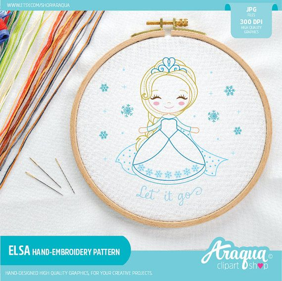 Frozen Queen Elsa Hand Embroidery Pattern - 7'' and 5'' - Instant Download - JPG Files.