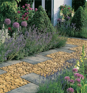 A dreamy path: Pebble Mosaics, Architecture Pathways, Gardens Paths, Offset Paths, Gardens Design, Gardens Decors, Interesting Paths, Flower, Dreamy Paths
