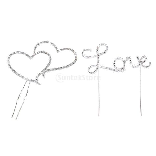 2016 Wholesale Crystal Rhinestone Double Heart Plus Letter Love Cake Topper Wedding Party Decoration From Copy02, $22.32 | Dhgate.Com