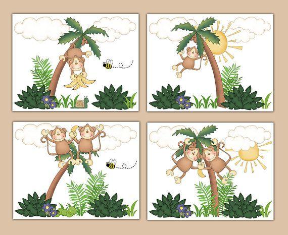 MONKEY NURSERY ART Wall Prints Jungle Safari Animal Baby Boy Decor. Hanging Swinging Monkeys in Palm Tree #decampstudios