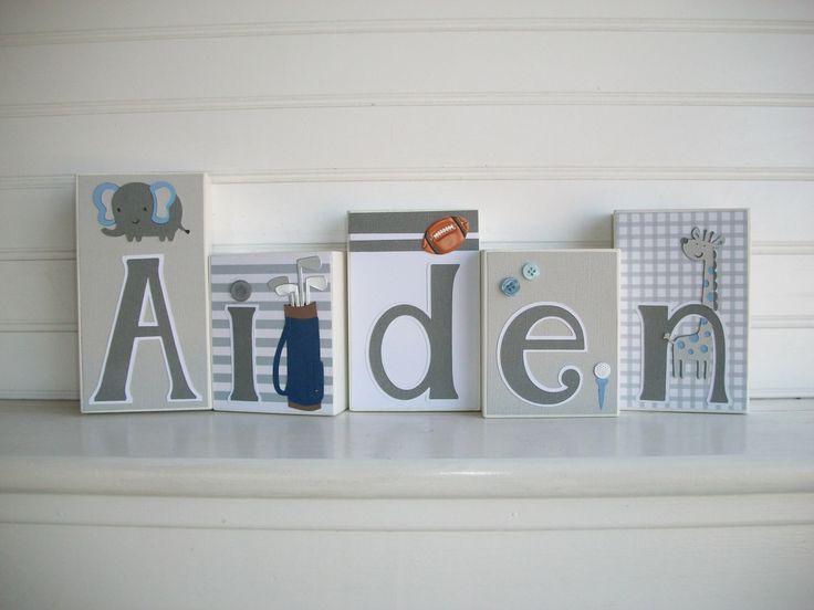 Baby Name Blocks .Modern . Blue . Grey .Elephant . Nursery Name Blocks . Golf . Nursery Decor . Baby Boy  . Wood Name Blocks . Bedding by RessieLillian on Etsy https://www.etsy.com/listing/176201388/baby-name-blocks-modern-blue-grey