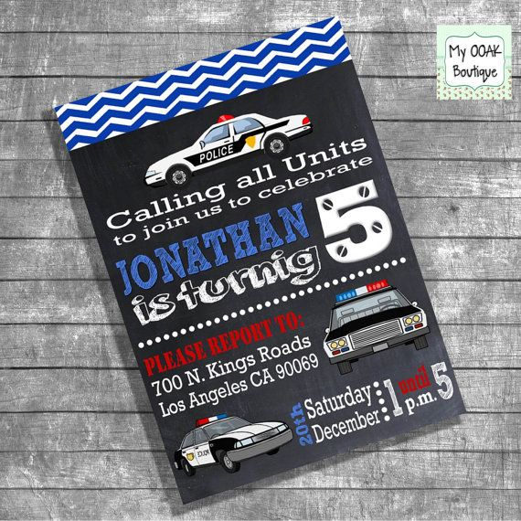 Birthday police invite party invitation kids by myooakboutique, $12.00