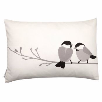 Lorna Syson Grey Willow Tit Cushion:  A delightful accessory to any home; the Willow Tit cushion from Lorna Syson brings nature indoors with a touch of nostalgic charm.