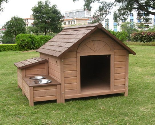 #stoppuppymills Love the dog dish idea with this dog house.