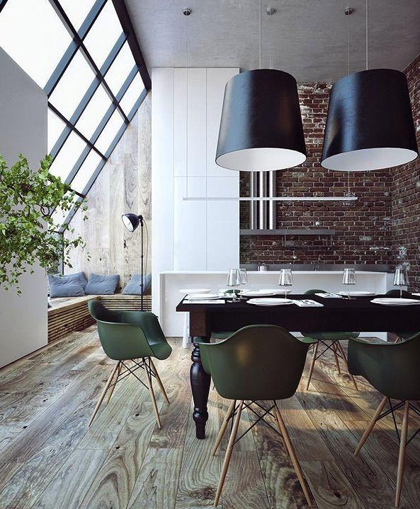 Penthouse rustic floor, modern interior.  Why am I suddenly digging modern decor?