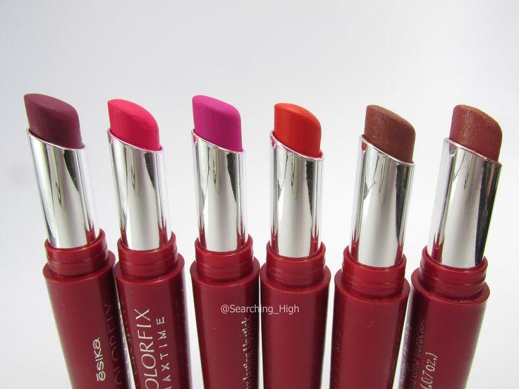 Reseña de labiales Ésika Colorfix Maxtime de máxima duración, con fotos de los productos y su aplicación respectiva.
