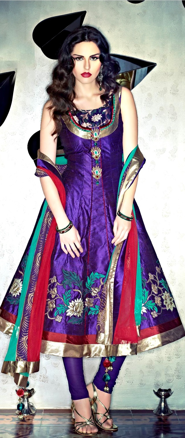 Deep Purple Art #Silk Churidar #Kameez with #Dupatta | $264.80 | Shop Here: http://www.utsavfashion.com/store/sarees-large.aspx?icode=kzm33