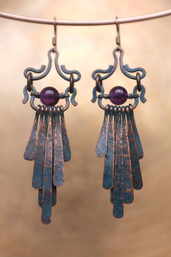 Boucles d'oreilles bijoux gainé avec améthyste pierres précieuses-laiton boucle Earwires bijoux fait main-laiton-vert patine-bijoux ethnique arménienne.