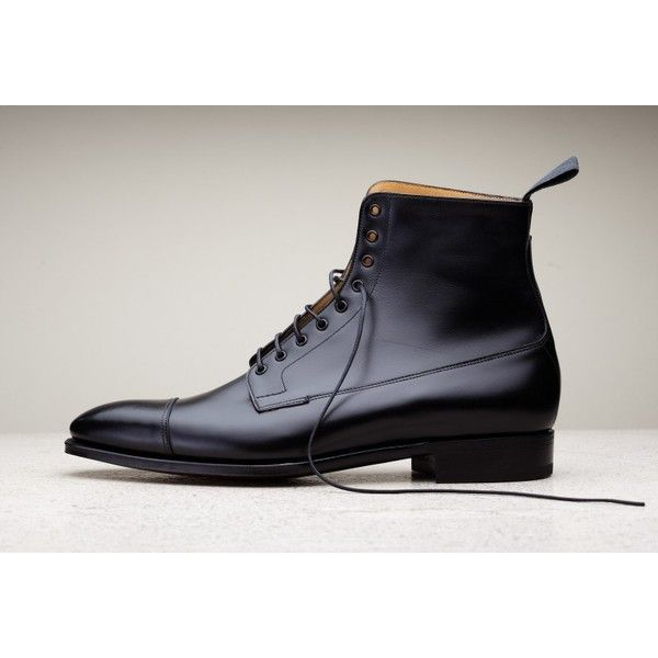 Handmade men black leather boots, dress boots for men, men ankle high... ($170) ❤ liked on Polyvore featuring men's fashion, men's shoes and men's boots