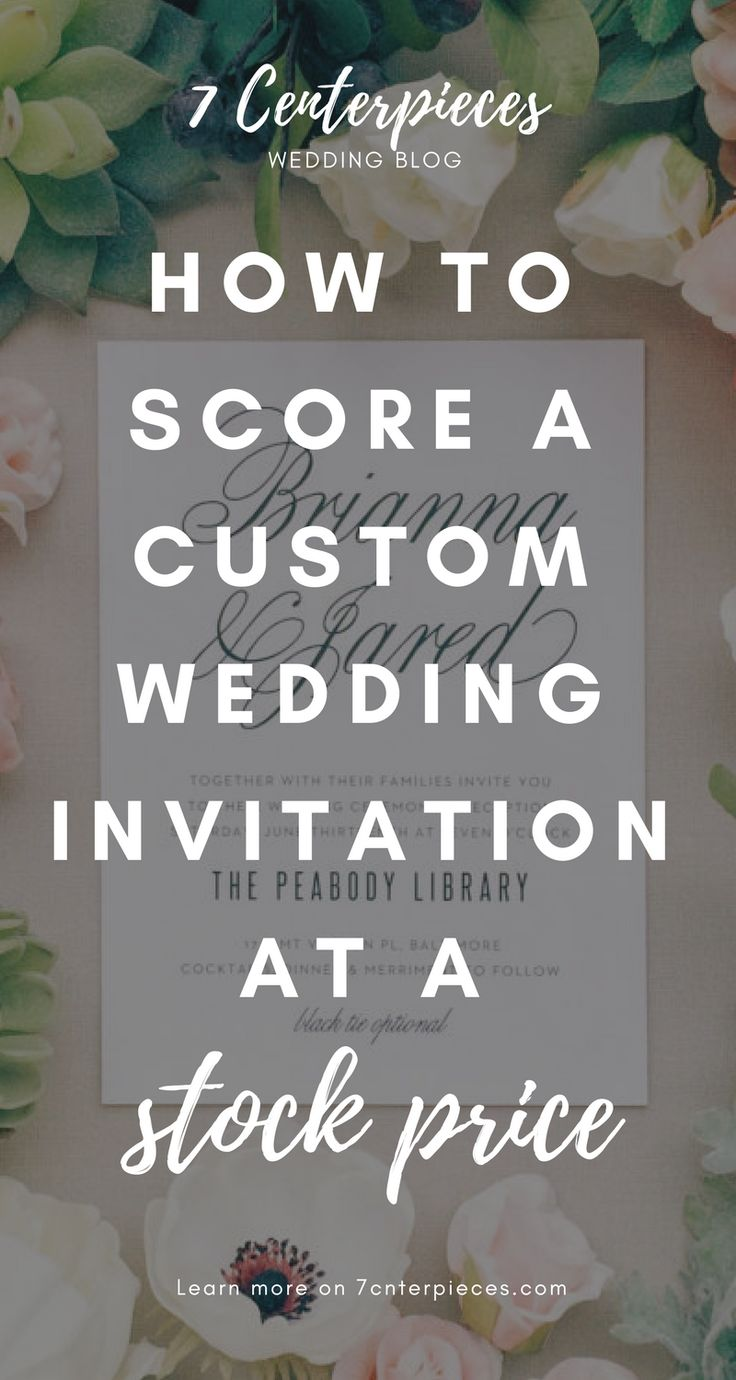 Custom wedding invitations are amazing but the price is not. Check out this article on how to have the elegant, unique wedding invitations at a stock price. Don't wait--PIN IT NOW!