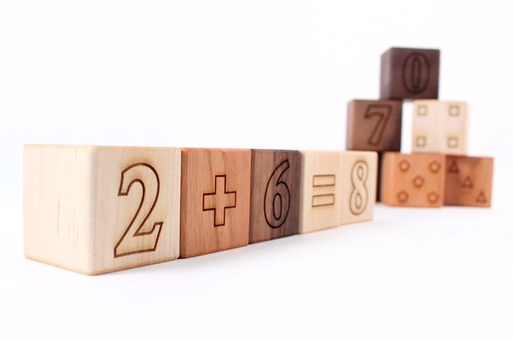 12-piece MATH BLOCKS set - all natural and educational hardwood toys - numbers, shapes, and more for toddler / preschooler, organic finish by SmilingTreeToys on Etsy https://www.etsy.com/listing/92847588/12-piece-math-blocks-set-all-natural-and