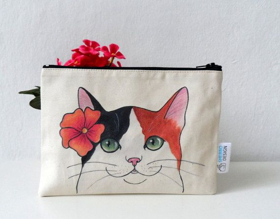 Cat Pouch Zipper Pouch  Calico Cat with Flower  , printed from my original illustration , #cat #art #cute #gift #crazycatlady #catlover #pouch #zipbag #travelbag