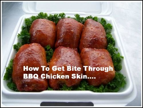 Want to get that bite through chicken skin competition BBQ Pitmasters work so hard to perfect?  We show you how here! http://www.bbqsmokersite.com/bite-through-bbq-chicken-skin/#
